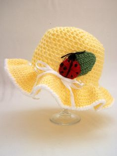 Summer Baby Hat Ladybug  with  flower