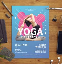 These flyer templates are easy to use and well organized in folders and layers. Graphic Design Blog, Graphic Design Templates, Psd Templates, Keynote Template, Flyer Template, Yoga Flyer, Brand Guidelines Template, Logo Tutorial, Music Flyer