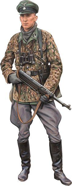 """Waffen SS - SS Untersturmfhuerer, 2a Waffen SS Panzerdivision """"Das Reich"""" , Fronte est, estate 1944 - La 2. Divisione Panzer SS """"Das Reich"""" fu costituita nell'ottobre del 1939 quando vennero riuniti i tre reggimenti delle SS (Deutschland, Germania e Der Führer) che avevano partecipato alla campagna polacca."""