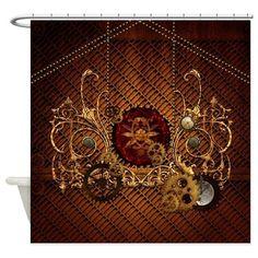 Industrial Decor Steampunk Brown Unique Clockwork Fabric Shower Curtain Hooks