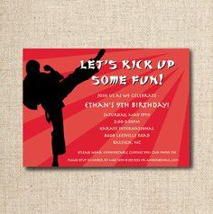 Karate Birthday Party Invitation Custom Printable By LilyGirlPaper 1200