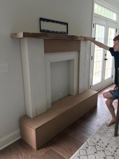 DIY Faux Fireplace and Shiplap wall — GHD - DIY Faux Fireplace and Shiplap wall — GHD faux fireplace Faux Mantle, Faux Fireplace Mantels, Shiplap Fireplace, Fireplace Remodel, Fireplaces, Diy Natal, Diy Simple, Ship Lap Walls, Home Decor Accessories