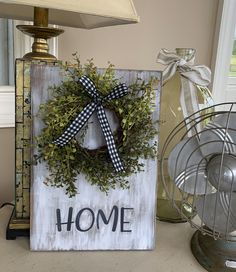 Excited to share this item from my shop: Farmhouse Home sign with wreath Cheap Rustic Decor, Modern Rustic Decor, Rustic Crafts, Wood Crafts, Diy Crafts, Modern Crafts, Wood Signs For Home, Barn Wood Signs, Home Signs