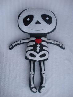 Plush Skeleton Rag Doll Halloween Plushie by LittleDeMouraDesigns, $34.95