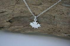 Sterling Silver Maple Leaf Necklace by Leaf Necklace, Leaf Earrings, Silver Maple Leaf, Jewelry Companies, Heart Jewelry, Semi Precious Gemstones, Custom Jewelry, Swarovski Crystals, Beading
