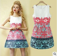 2014 new women summer floral print dresses European American style Palace casual Dress Sleeveless O-Neck Free shippingS- XL $28.00