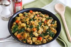 This skillet hash of potatoes and high-protein tempeh (embellished with bell pepper and kale) is as good served as a quick dinner as a hearty breakfast.