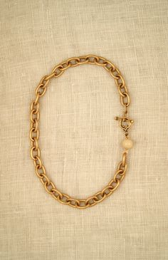18″ Ellie Necklace in Matte Gold & Bone Bead