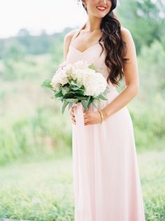 Pale pink 'maids dresses are always in style: http://www.stylemepretty.com/florida-weddings/brooksville-florida/2015/09/15/romantic-summer-wedding-at-southern-hills-plantation-club/ | Photography: Jacqui Cole - http://jacquicole.com/