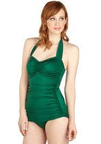 Esther Williams Bathing Beauty One Piece in Emerald | Mod Retro Vintage Bathing Suits | ModCloth.com