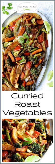 Curried Roast Vegetables with potatoes onion carrots red bell pepper broccoli and green beans is an Indian-inspired feast that's perfect as a side dish or festive vegan meal! Indian Vegetable Side Dish, Indian Side Dishes, Vegan Side Dishes, Vegetable Side Dishes, Side Dish Recipes, Curry Side Dishes, Indian Vegetable Curry, Indian Vegetable Recipes, Indian Food Recipes