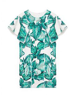 Tropical palm leaf print top shirt