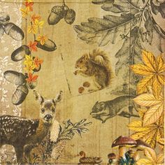 4 Single Table Party Paper Napkins for Decoupage Decopatch Craft Autumn Collage