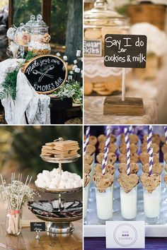 Cookies and Milk and S'mores Bar |ood station |  | a delicious new wedding foodie trend | See more great wedding food ideas on www.onefabday.com