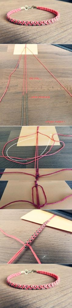 "just a ""sideways"" macrame knot! the instructions are in french but the pictures are easy to follow."