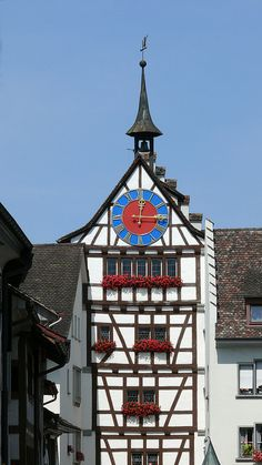Stein an Rhein, Kanton Schaffhausen Switzerland - The town has a beautiful medieval centre with the ancient street plan intact. Many of the medieval buildings are painted with beautiful frescoes.