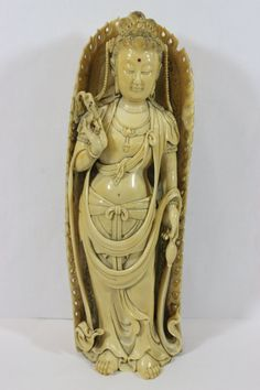 "Chinese 17th/18th century ivory carved standing Buddha with halo, possible Ming Dynasty, a beautiful example, 7.7""H,"