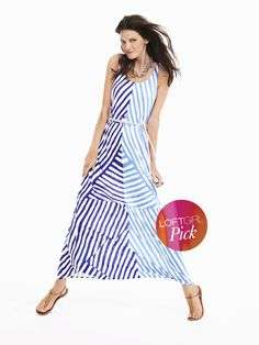 Jordan Muto of Washington, DC picked the Striped Maxi Dress (Style #272851) with the Cork Flat Sandals (Style #278810)
