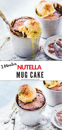 This Microwave Nutella Mug Cake Recipe is a quick and easy dessert when you really don't have fancy ingredients handy. This Microwave Nutella Mug Cake Recipe is a quick and easy dessert when you really don't have fancy ingredients handy. Nutella Pizza, Nutella Brownies, Nutella Cookie, Beste Brownies, Nutella Mug Cake, Mug Recipes, Banana Recipes, Gourmet Recipes, Cake Recipes