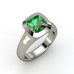 Geneva Ring - Cushion Emerald Sterling Silver Ring $14,787