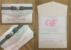 Silver pebble decorative top pocket fold invitation with silver ribbon and silver diamanté embellishment  www.jenshandcraftedstationery.co.uk  www.facebook.com/jenshandcraftedstationery Hand Made Wedding stationery: Save the date, Wedding invitations, Table Plans, Place Settings, Guest Books, Post Boxes, Menus, Table Numbers/Names