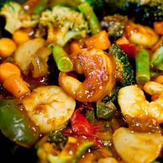 Szechuan Shrimp Stir Fry with Fried Rice (Gluten-Free) Recipe Main Dishes with medium shrimp, sauce, olive oil, cooked rice, olive oil, eggs, vegetables