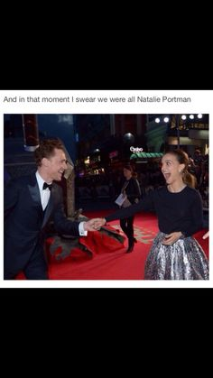 In that moment I swear we are all Natalie Portman. Tom Hiddleston