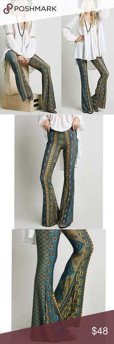 """Green Tribal PANTS Flare Janis Bells Blue Yellow BRAND NEW!! Beautiful Classic Printed Janis Style Bells with elastic waist. Super stretchy, comfy, & soo cute--flattering fit throughout, these pants do amazing things for your rear!! Add some sandals, and a simple tee to complete the look. 🌟Similar style by Novella Royale, Free People. 🌟  - Materials: 90% Rayon/10% Spandex Measurements (M): - Waist: 28-29"""" - Length: 40-41""""  🌟🌟Item is Brand New, direct from the Manufacturer, & Sealed in…"""