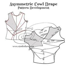 Use any tee-shirt pattern for this Puzzle - Asymmetric Cowl Drape Pattern Drafting Tutorials, Easy Sewing Patterns, Vintage Patterns, Clothing Patterns, Knitting Blocking, Suit Pattern, Free Pattern, Pattern Draping, Sewing Studio