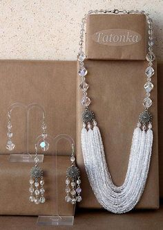 Size: necklace length from the edge: ~ 62 cm, the outer ~ 67 cm. Long earrings 6 cm with fastener. Seed Bead Necklace, Seed Bead Jewelry, Bead Jewellery, Diy Necklace, Necklace Designs, Beaded Jewelry, Jewelery, Jewelry Necklaces, Handmade Jewelry
