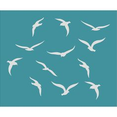 Seagulls Ocean Birds Stencil Available in 5 Sizes Create Beach Pillows... ($18) ❤ liked on Polyvore featuring home, home decor, wall art, grey, home & living, home décor, grey wall art, ocean home decor, stencil wall art and beach scene wall art