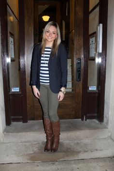 navy blazer, army green pants, navy and white striped shirt, brown boots