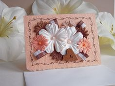 Note Card of Floral and Pearls by warmtouchcreations on Etsy, $4.35