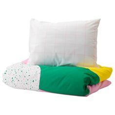 MÖJLIGHET Påslakan 1 örngott - rosa, grafiskt mönstrad - IKEA