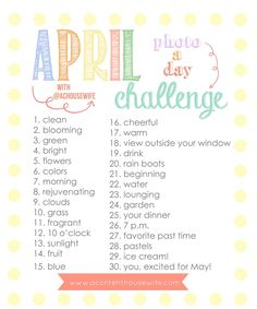 a content housewife: April Photo-a-Day Challenge!