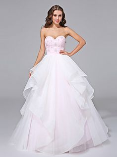 Lanting+Bride®+Ball+Gown+Plus+Sizes+Wedding+Dress+-+Chic+&+Modern+Open+Back+Sweep+/+Brush+Train+Sweetheart+Organza+withBeading+/+Lace+/+–+USD+$+570.00