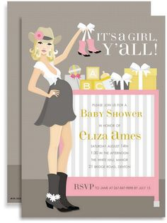 Cowgirl - Girl Baby Shower Invitations