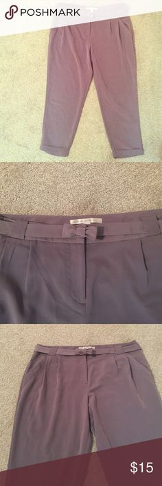 Ankle Pants by Lauren Conrad Eggplant colored ankle pant with pleased waist and bow belt. Pants Ankle & Cropped