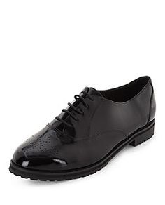 Black Patent Embossed Brogues  | New Look