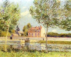 Alfred Sisley. Häuser am Ufer der Loing. 1889, Öl auf Leinwand, 33 × 41 cm. Privatsammlung. Landschaftsmalerei. Frankreich. Impressionismus. KO 02154