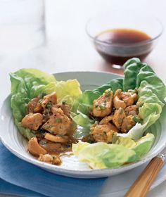 Chicken and Cashews in Lettuce Wraps   Get the recipe http://www.realsimple.com/food-recipes/browse-all-recipes/chicken-cashews-lettuce-cups-10000001728860/index.html