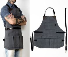 This apron is a must have for people who use multiple tools on their job. The Tool Apron is covered with lots of pockets to help you get your work done in Diy Leather Apron, Industrial Aprons, Tool Apron, Barber Apron, Work Aprons, Woodworking Apron, Diy Leather Working, Aprons For Men, Diy For Men