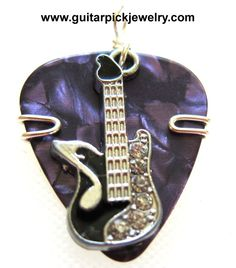 Bad Ass Guitar Pick Pendant purple with black guitar charm by TwistedPicks on Etsy