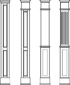 Square Paneled Columns: Providers of DIY columns. See us for a column, house… House Columns, Front Porch Columns, Wood Columns, Facade House, Arch Molding, Moldings, Columns Inside, Classic House Exterior, Square Columns