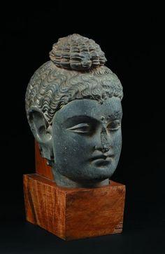Tête de Bouddha en schiste gris, la coiffe surmontée de l'ushnisha. Art gréco-bouddhique, Gandhara, IIe-IVe siècle. Photo Millon et Associés Paris.