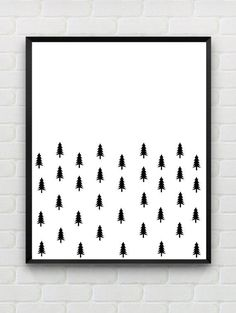 Instant Download, PRINTABLE abstract woodland wall art, Scandinavian black and…