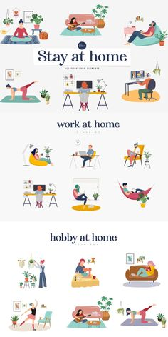 Stay at home and be safe! Collection of 24 scenes with young and elderly people - women and men staying at their home, practicing yoga, enjoying meditation, Music Illustration, People Illustration, Character Illustration, Graphic Design Illustration, Creative Calendar, Composition Art, Cute Panda Wallpaper, Panda Wallpapers, Reading Books