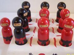peg people ninja | Ninja Peg Doll Tic Tac Toe game set by tdcraftycreations on Etsy, $27 ...