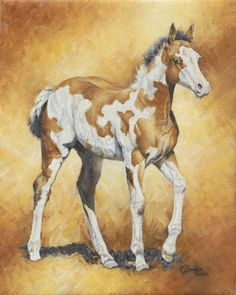 Wheres Mom?  horse painting by Karen Boylan