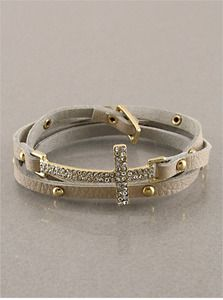 $27.00 Crystal Cross Wrap Around Bracelet  (free shipping always :0)